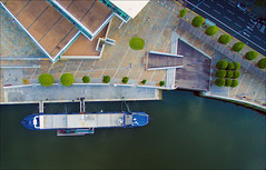 river lagan and holohans barge (teedee.) Tags: river lagan holohans barge belfast water dji phantom3 drone boat restaurant