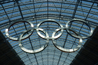 Back Side of the Olympic Rings at St. Pancras Station, London, England