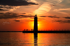 Sunset Silhouettes (golferboy2321) Tags: michigan sunset muskegon lighthouse