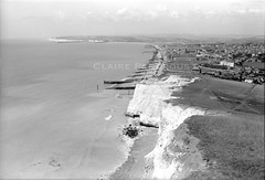 Seaford Bay from Seaford Head, Sussex, 1958 (Lady Wulfrun) Tags: seafordbay seafordhead sussex august 1958 martellotower beachholiday seaside british uk