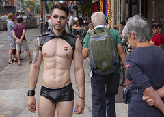 094A3191 v2 (Wheels Down) Tags: gay pride nyc 2018 hottie makeup tattoo built muscle abs shorts shortshorts buldge wristband leather harness prettyboy nailpolish pecs sunglasses shades