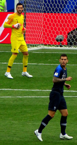 Hugo Lloris and Lucas Hernandez of France watching the ball at the 2018 World Cup Final