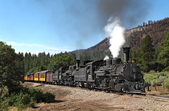 Doubleheader Near Shalona Lake (jterry618) Tags: durangosilvertonnarrowgaugerailroad durango colorado steamlocomotive railroad train engine car steam