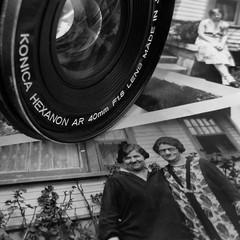 Old School (arbyreed) Tags: arbyreed macromondays photographygear camera prints photos oldschool film filmcamera konica lens slr close closeup monochrome bw blackandwhite squareformat oldpictures