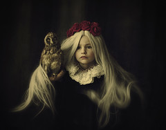 Emily With Owl (Maren Klemp) Tags: fineartphotography fineartphotographer darkart darkartphotography portrait girl owl conceptual hair dreamy expressive painterly flowers surreal vintage naturallight