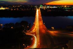 Nizhny Novgorod by night. Traffic across Oka river (Andrey Sulitskiy) Tags: russia nizhnynovgorod oka россия нижнийновгород ока