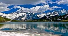 Bachalpsee (sylviafurrer) Tags: bachalpsee mountain mountainlake clouds wolken panorama bergsee bernesealps berneralpen schreckhorn spiegelung reflection schnee snow eis ice switzerland ngc