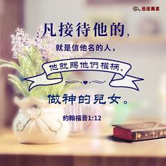 圣经金句-凡接待的蒙神悦纳 (追逐晨星) Tags: 约翰福音 金句卡片 圣经金句 金句图片 接待