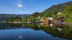 Lårdal, Norway (CecilieSonstebyPhotography) Tags: norway trees markiii sunny spring ef1635mmf28liiusm cloud canon5dmarkiii lårdal buildings mountains canon water reflection lake