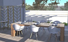 Dinning room done with new collections by llorisen! Check Description! (BradleysDesigns) Tags: modern kitchen dining table plates eating home decor interior design virtual render 3d loft aria llorisen gold white second life sl secondlife gaming game