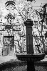 Plaça de Sant Felip Neri (nzfisher) Tags: plaçadesantfelipneri placa fountain water drip blackandwhite monochrome mono facade baroque bokeh barcelona spain travel holiday canon 24mm shadow gotic