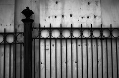 Barrier (nikodemus) Tags: bw fence barrier plywood wall no dont stop entry