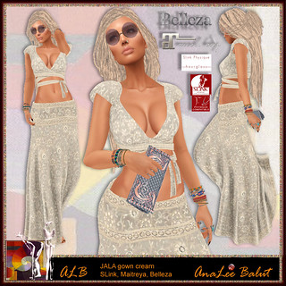 ALB JALA set cream with clutch by AnaLee Balut