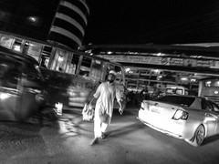 Dhaka Street #191 Risky crossing (سلطان محمود) Tags: dhaka dhakastreet999 bangladesh man night crossing road risk xiaomi yi action camera light mobilephotography motion blur cat bus blackwhite outdoor roadside