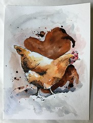 Bravo (Nick Lee, Sketcher) Tags: chicken watercolor ink pen painting drawing sketch