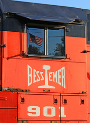 Bessemer An American Railroad (GLC 392) Tags: old glory american flar reflection window bessy 901 ble bessemer lake erie railroad railway train iron ore emd sd403 sd40t3 pa pennsylvania 905 902 locomotive tree sky grass car penn hills