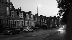 night-time streets 01 (byronv2) Tags: handheld night edinburgh edinburghbynight nuit nacht polwarth gorgie blackandwhite blackwhite bw monochrome twilight dusk summer house home apartment tenement architecture building hendersonterrace