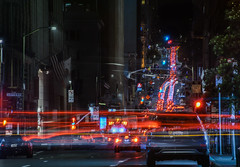 pine street backup (pbo31) Tags: bayarea california nikon d810 color april 2018 spring boury pbo31 sanfrancisco city urban night dark black pinestreet batterystreet financialdistrict traffic red detour roadway lightstream motion motionblur