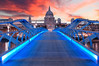 Millennium & Dome (Pat Charles) Tags: london longexposure leadinglines england unitedkingdom uk thames river bridge millenniumbridge stpaul stpaulscathedral stpauls saintpaulscathedral cathedral church dome duomo sky sunset sunrise clouds outside millennium saint paul ludgatehill wren christopherwren blue bluelines nikon