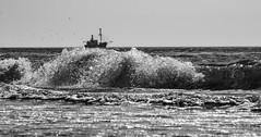 another one (Wöwwesch) Tags: boat fishing sea waves water sun summer beach reflektion reflection ocean wide warm blackwhite