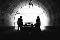 Linda and Ferry (Erik de Klerck) Tags: tunnel light silhouette silhouet portrait car blackandwhite heinenoord road circel wedding alfa romeo