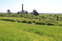 Pleasley Pit from the park (jpotto) Tags: uk derbyshire eastmidlands pleasley pleasleypit colliery coal headstock pithead windinghouse mining grass countryside coalmining