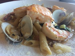 Seafood pasta at Scales (htomren) Tags: phonepics food monterey scalesmonterey pasta seafood fish shrimp clams