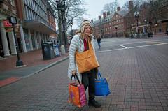 Harvard University (BimalNepal) Tags: bimalnepal bostonphotographer documentary harvardartmuseums harvarssquare ma shopping streetart streetphotography bags boston harvard holidayseason massachusetts street woman