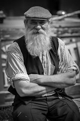 Bargee (f22photographie) Tags: candidphotography 1940sweekends blackcountrylivingmuseum vintageclothing people bargee boatman caps hats waistcoats beards beard blackandwhite monochrome