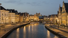 Gand (vanregemoorter) Tags: city ville cityscape eau light night bluehour architecture reflet belgium bateau bâtiment ciel rivière pont gent