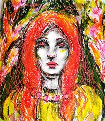Red Eyes 2 (Lindsaywhimsy) Tags: girl portrait paintsticks gouache texture colourful red yellow sketchbook
