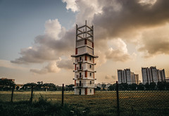 Tower (Z H WONG) Tags: tower old jurong fire station singapore clouds sky grass