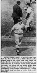The Yankees' Mick thrown out of the game in 1957. (Jbsbbailey) Tags: sox red boston runge ed 1957 yankees york new stengle stengel casey mantle mickey