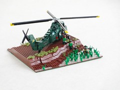 Vietnam War USMC UH-34D Seahorse (Mad physicist) Tags: lego military sikorsky helicopter seahorse marines usmc vietnam uh34d s58 choctaw diorama