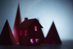 (CatMacBride) Tags: red house mountain paper papercraft