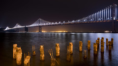 Bay Bridge Light Show. (Axim2013) Tags: sanfrancisco california unitedstates us nikon nikond810 night color blue myphotoproject raykwa
