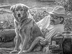 Best Friends (clarkcg photography) Tags: man male mustache hat sunglasses park dog golden cooler beer concert