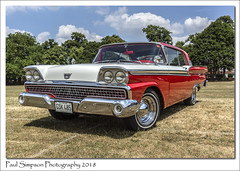 Ford Fairlane Galaxie 500 (Paul Simpson Photography) Tags: doncaster ford fordfairlane galaxie500 1959 paulsimpsonphotography sonya77 imagesof imageof photoof photosof red american car classic vintage july2018 grass field transport transportation vehicle tires tyres tyre tire usa old