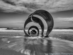 Just before my tripod legs started sinking... (sarahOphoto) Tags: marys shell cleveleys beach lancashire thornton black white monochrome canon 6d sculpture sea little stopper lee long exposure slow shutter blurred water cloud sky landscape