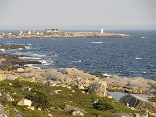 Lighthouse and Atlantic coast from the Whalesback, Peggy's Cove, Nova Scotia