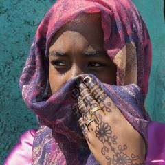 afar girl. henna . Danakil. Ethiopia (courregesg) Tags: ethiopia ethnic ethnographie tribe tribal traditional travel hornofafrica jewelry afar danakil desert nomade portrait girl tatoo henne