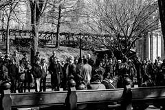 Street Performers, Central Park, March 2011 (bobbex) Tags: usa bigapple newyork manhattan ny nyc bw blackandwhite blackwhite people crowd