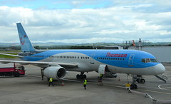 Thomson 757 (afagen) Tags: scotland uk unitedkingdom greatbritain glasgowairport paisley gla glasgow airport airplane boeing757 boeing 757 thomsonairways goobf