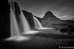 Kirkjufellfoss #2 (Russ Kerlin Photography) Tags: iceland kirkjufellfoss kirkjufell mountain waterfall rocks longexposure monochrome bw