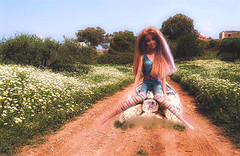 """Barbie  """" i get the stranges Ideas when I get bored"""" (marieschubert1) Tags: turtle barbie doll strange ideas reptiles shell tortoise transportation fashion outside dirt road wild flowers workout bare feet natur fantasie field riding animal humor funny smile"""