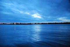 Blues - 03 (Sofeha) Tags: blue water river lake detroit windsor bordercity night reflection light downtown ripple sky clouds