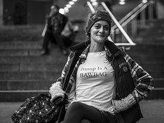 Flashback Friday: Trump (Leanne Boulton) Tags: people portrait urban street spontaneous impromptu portraiture streetphotography streetportrait eyecontact streetlife bawbag protest protesting donaldtrump antitrump event slogan slang tshirt protester tone texture detail depthoffield bokeh naturallight outdoor light shade city scene human life living humanity society culture lifestyle canon canon5d 5dmkiii 50mm ef50mmf14usm primelens prime black white blackwhite bw mono blackandwhite monochrome glasgow scotland uk