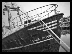 Sara Shaun - Newlyn Harbour, Cornwall. (Mark Curnow Photography) Tags: fishingboat water harbour cornwall greyscale monochrome blackandwhite kernow cornish fishing rope metal huawei outdoorphotography outdoors summer evening warm season