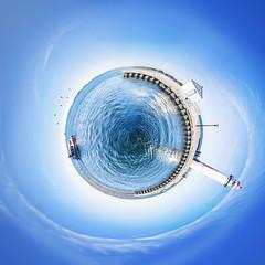 My Globe IV (Jeff Camphens) Tags: creative globe blue sea water ball world earth lightouse hellevoetsluis experimental experiment nikon d3300 10mm art creativity light bright landscape lake