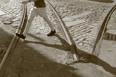 Former Tracks (sleepingonahigh) Tags: cobblestone kolej tracks blackandwhite brooklyn dumbo newyork nyc ny pedestrian road ulice